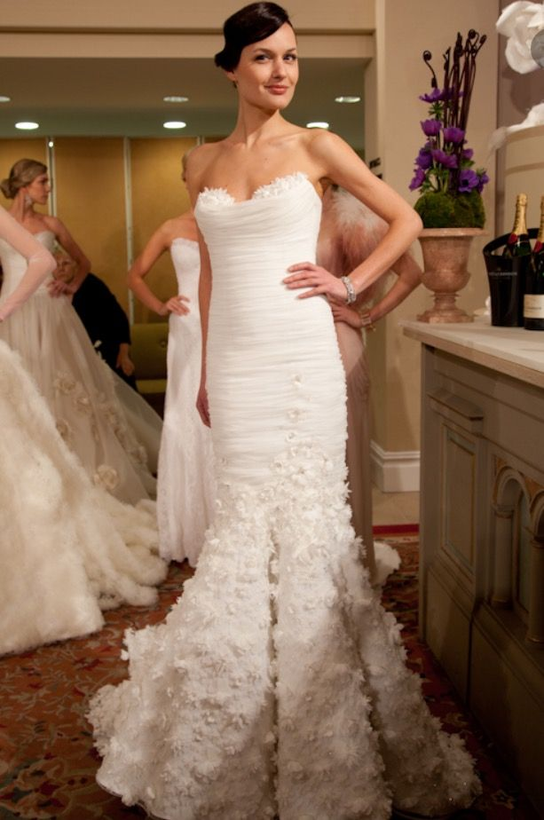 Fit, flare and floral Mark Zunino bridal gown | Wedding | Pinterest ...