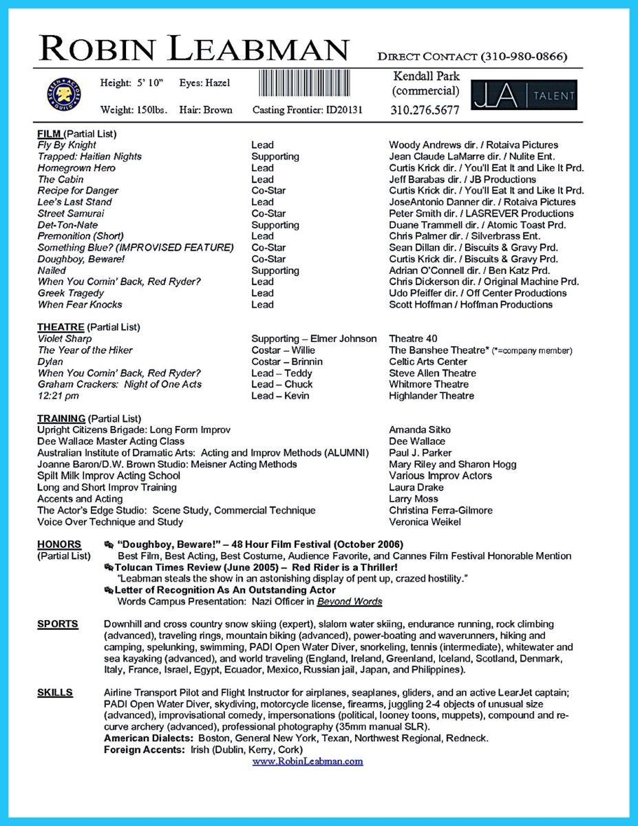 Acting Resume Example Awesome Brilliant Acting Resume Template To Get Inspired  Resume