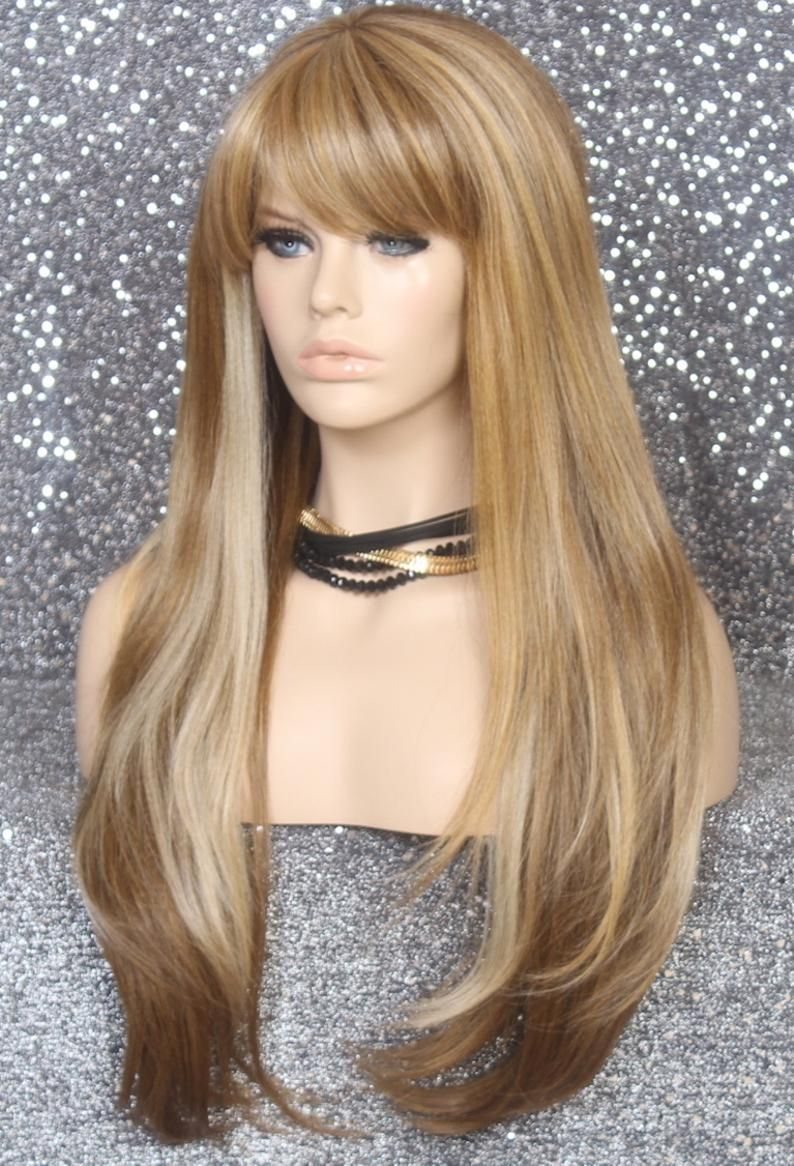 Extra long human hair blend wig auburn mix in color center