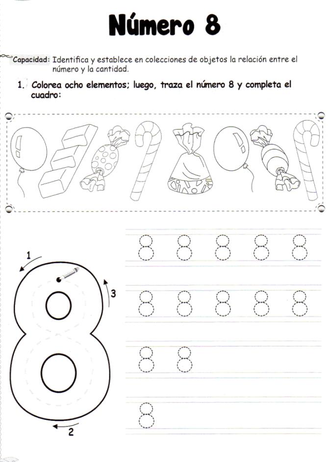 El número 8: 5 años - Material de Aprendizaje | Fichas Didácticas ...