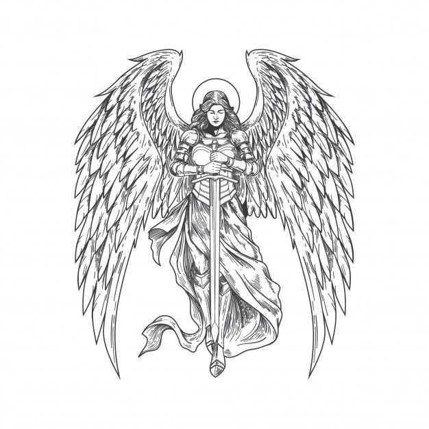 Handdrawn Angels Bringing Sword Archangel Tattoo How To Draw Hands Angel Tattoo Men
