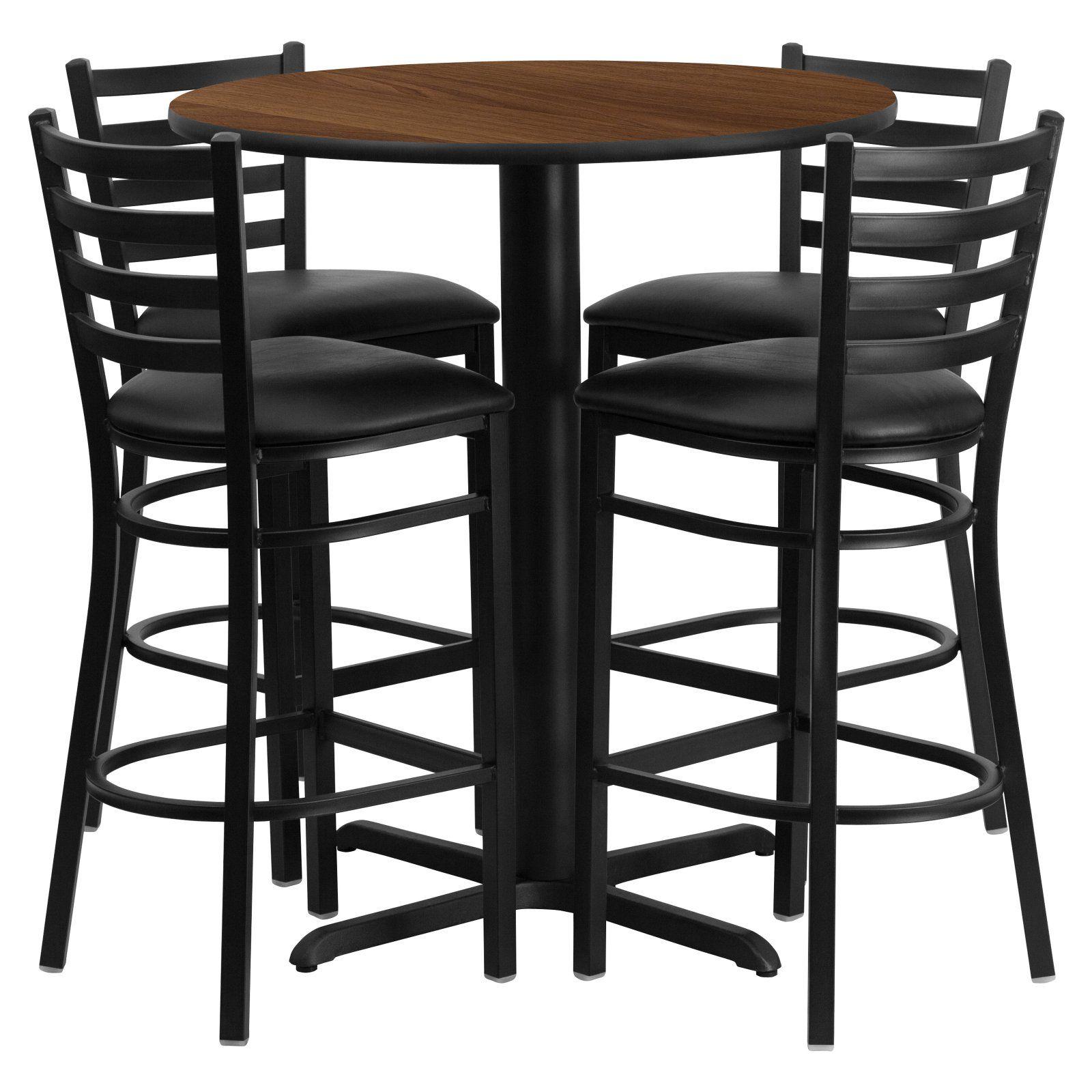 flash furniture 30 in round laminate table set with 4 black vinyl rh pinterest com