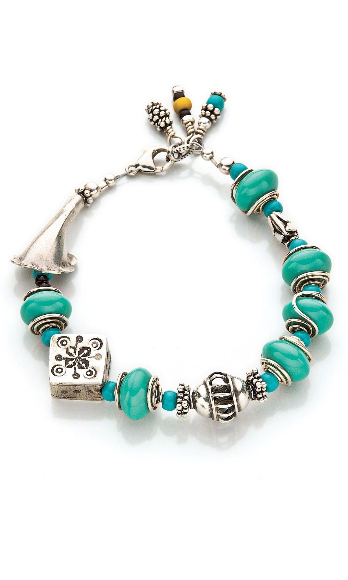 Jewelry design bracelet with sterling silver beads and glass beads