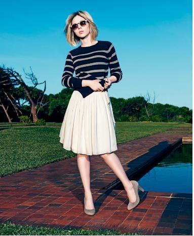 stripes, pleats, pumps -- neat! Scarlett Johansson for Mango