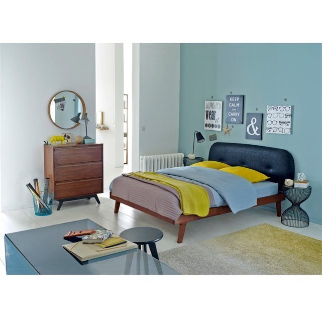 lit t te de lit capitonn e sommier agura vintage r tro et caf au lait. Black Bedroom Furniture Sets. Home Design Ideas
