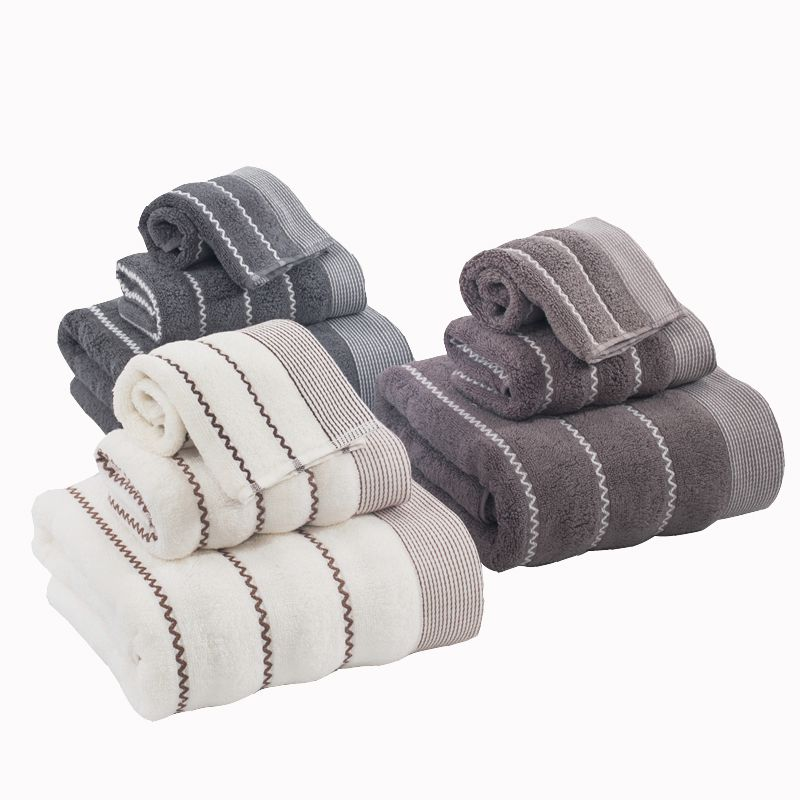 Striped Cotton Towel Set Soft And