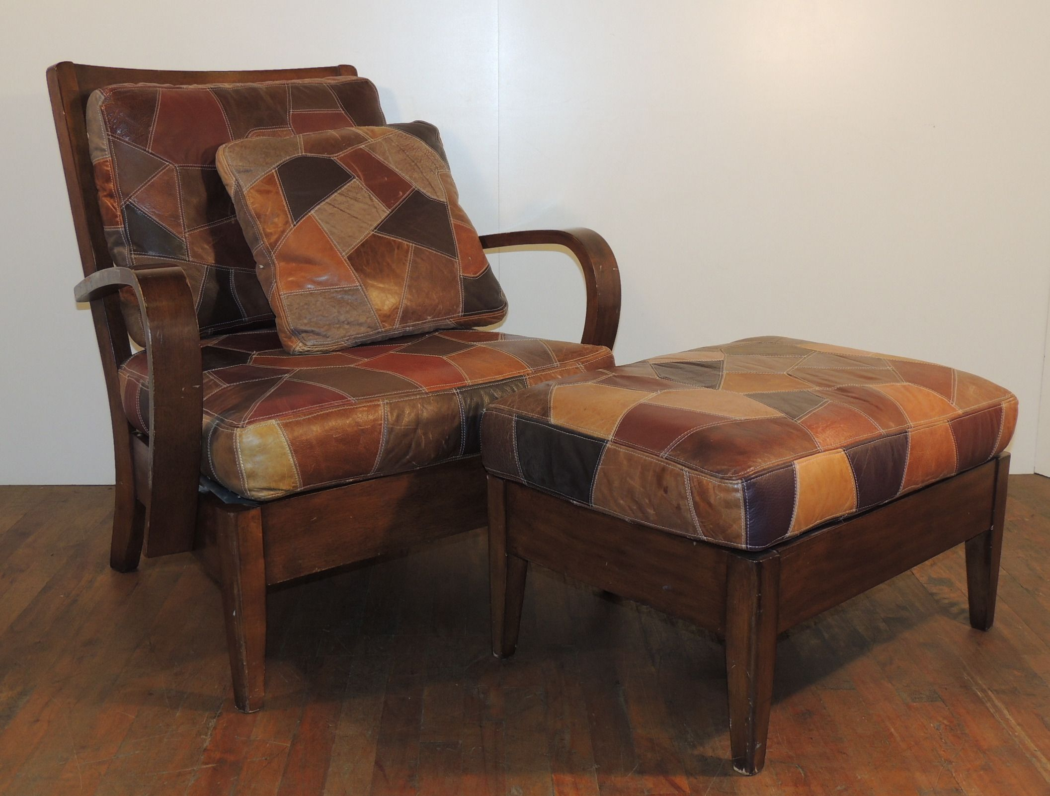 Wooden Chair With Patchwork Leather Cushion Seat And Back And Extra Pillow,  Set With Ottoman   Warner Bros. Property Department