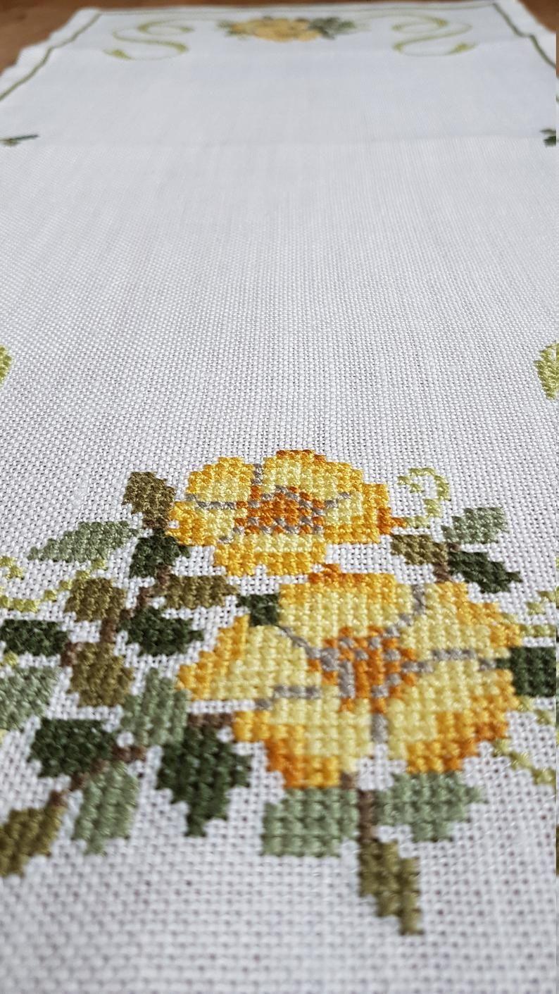 Hermosa 26 X 12 Floral Punto De Cruz Etsy Floral Cross Stitch Cross Stitch Stitch