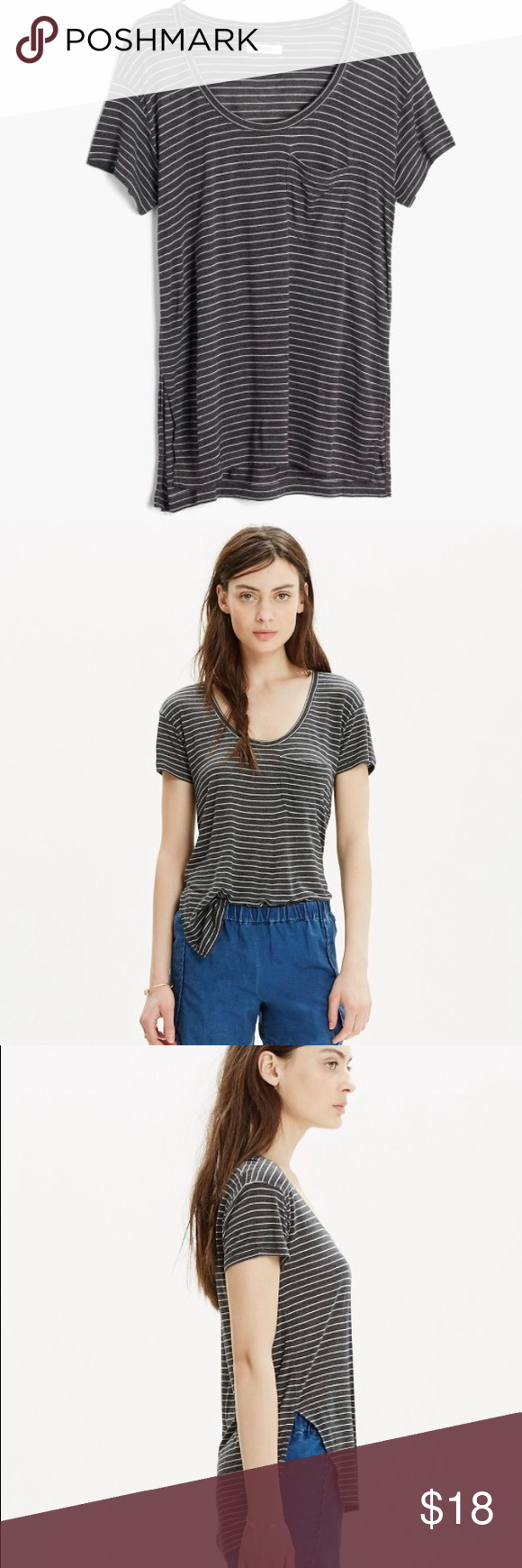 Madewell Anthem Short-Sleeve Scoop Tee This striped scoopneck pocket tee has high side slots for an artful-meets-effortless look. Drapey fit. Viscose. Style #C5836 Madewell Tops Tees - Short Sleeve