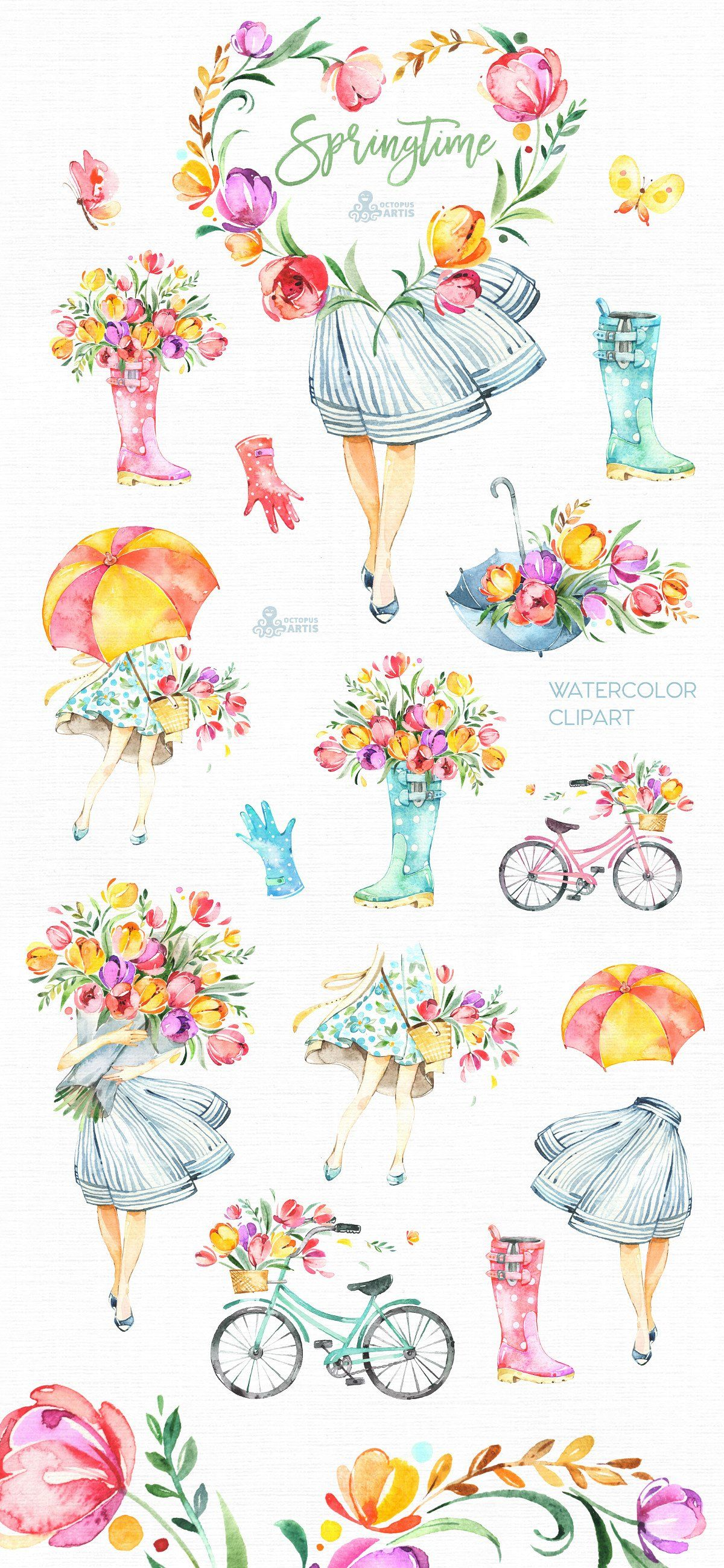 Springtime Watercolor Collection Spring Illustration Flower