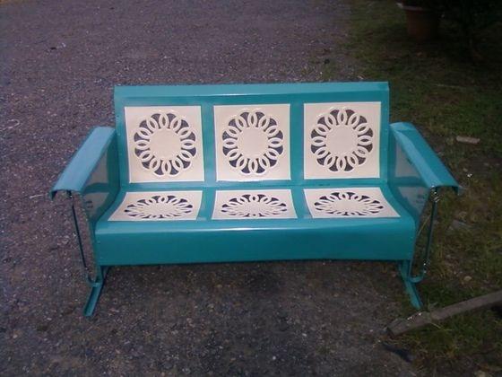 Powdercoated Restored Vintage Metal Patio Gliders Vintage Metal Glider Vintage Outdoor Furniture Metal Garden Furniture