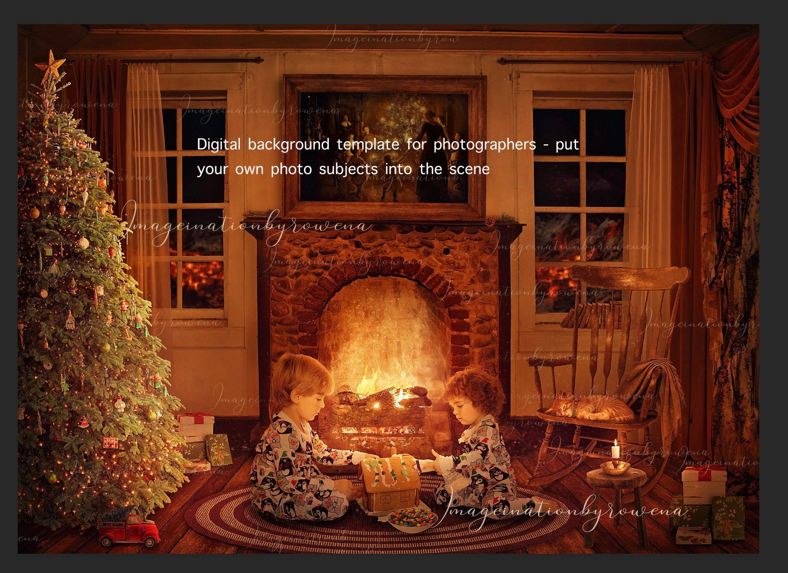 Festive Christmas Vintage Room With Fireplace Digital Etsy In 2020 Digital Backdrops Vintage Christmas Digital Art Supplies