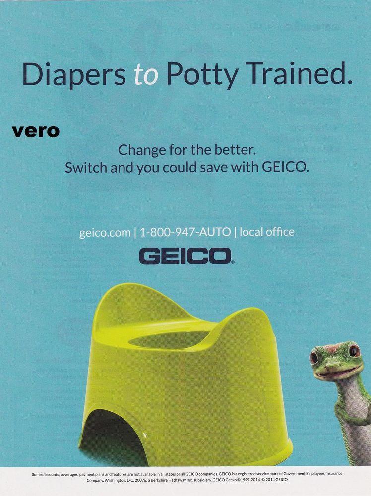 Geico Gecko Insurance Ad Art 2014 Magazine Print Diapers To Potty