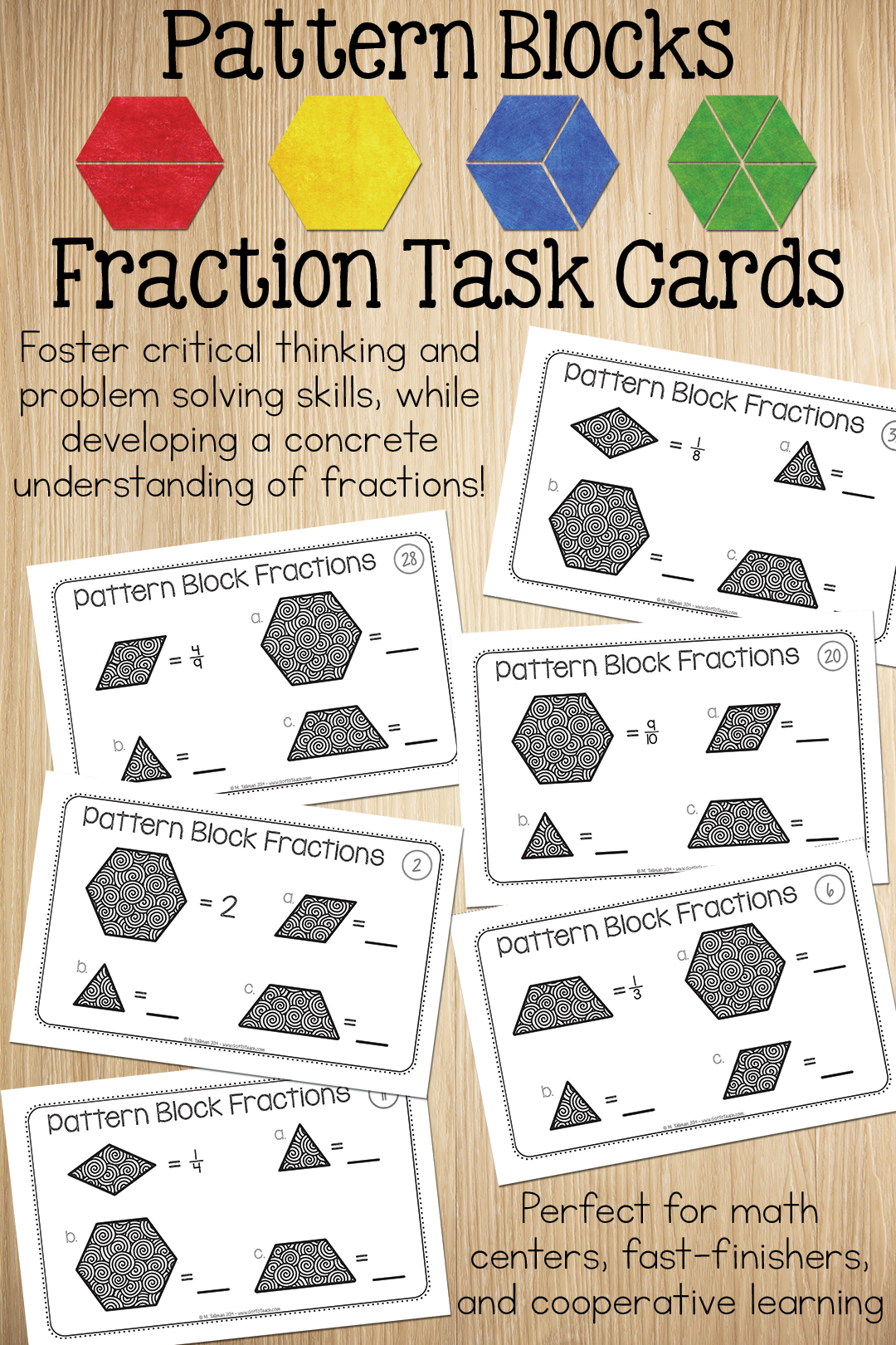 Pattern Block Fraction Task Cards Math Centers Fractions Task