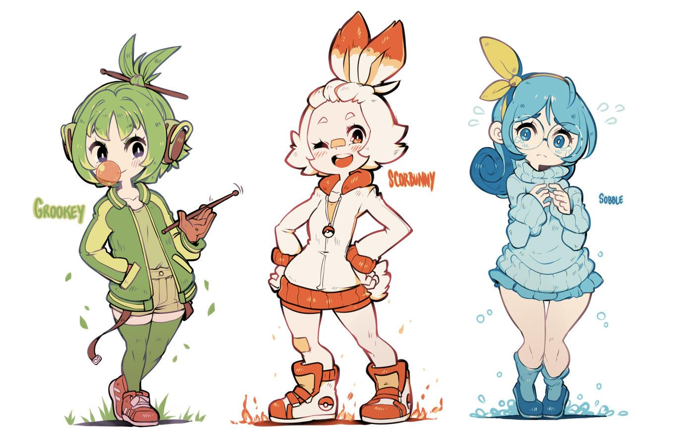 Pokemon Ss 3 Starters Gijinkas Art That I Like Pokemon Manga