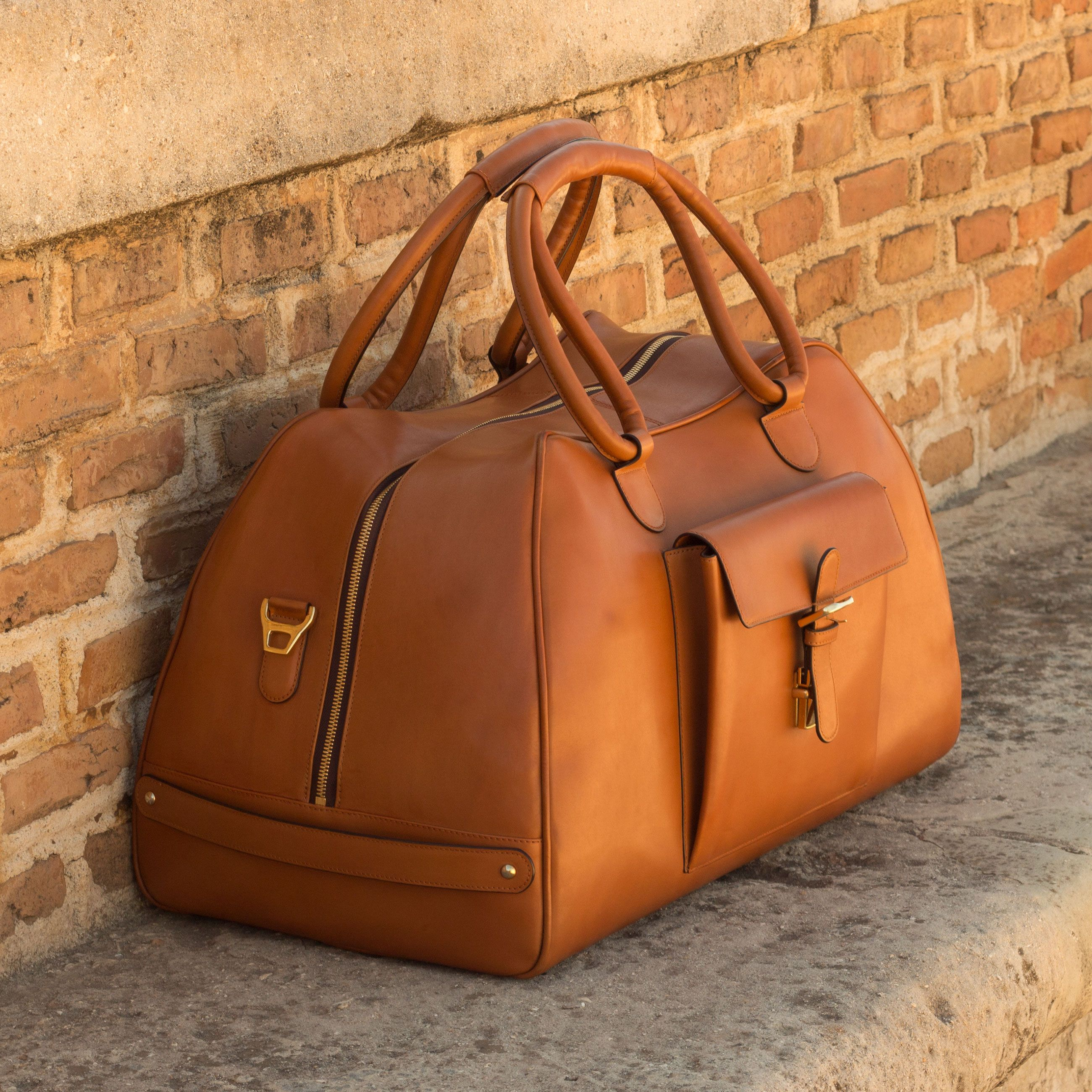 Custom Made Luxury Travel Duffel in Cognac Painted Calf Leather  Robert August Apparel is part of Leather handbags handmade - Handcrafted Custom Made Luxury Travel Duffel in Cognac Painted Calf Leather From Robert August  Create your own custom designed shoes shoes shoesoftheday dapper menswear mensfashion luxurylifestyle success hot style bespoke luxury