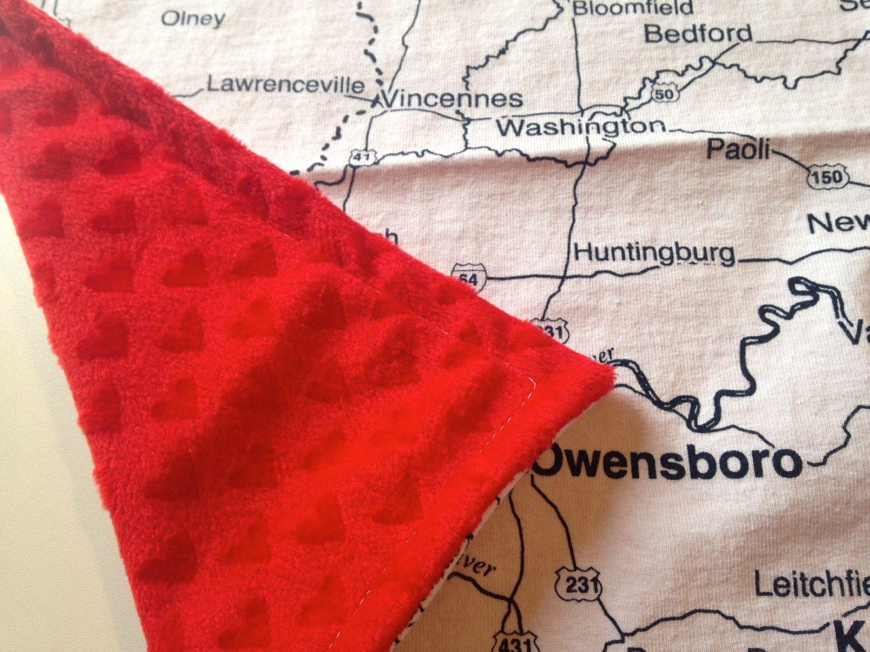ILLINOIS KENTUCKY INDIANA map minky blanket