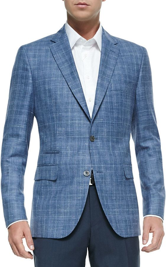 $845, Blue Plaid Wool Blazer: Hugo Boss Boss Plaid Two Button Jacket Blue.