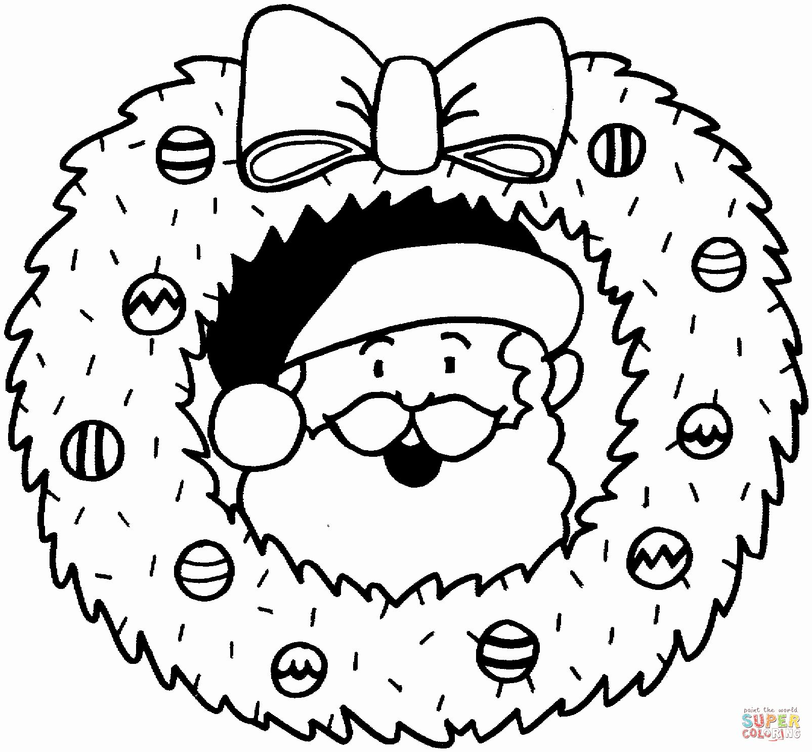 Christmas Reef Coloring Pages Elegant Christmas Wreath With Santa Coloring Page In 2020 Santa Coloring Pages Puppy Coloring Pages Coloring Pages Inspirational