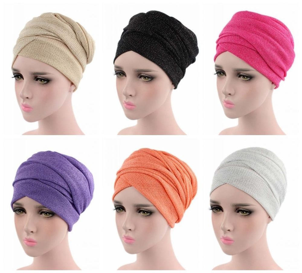 Muslim Women Scarfs Turban Hair Loss Wrap Hijab Cap Arab Ladies Headwear  Hats  7d9a9ea3bf7