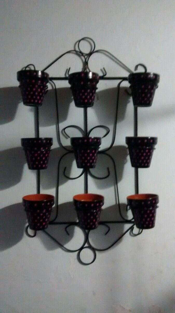 Porta macetas hierro con nueve macetas n10 550 00 en for Jardin vertical mercadolibre