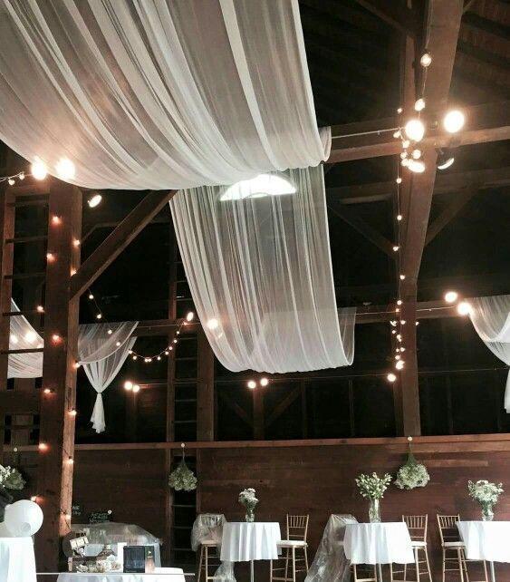 Draping Barn Wedding: Rustic Barn Wedding Ceiling Draping