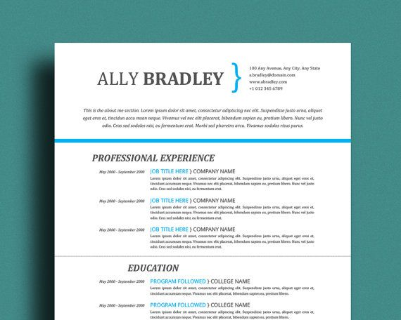 Professional Resume Template Cover Letter \ References Page - resume template words