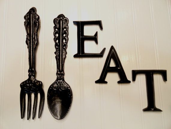 kitchen wall decor , black large fork spoon eat word sign , eat