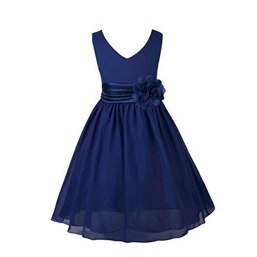 TiaoBug Robe de Mariee Fille Demoiselle Robe Bustier Soiree Floral Jupe  Longue Organza Robe de Cérémonie Enfant Fille 2-14 ans Bleu marine  14 9b8c211fbd72