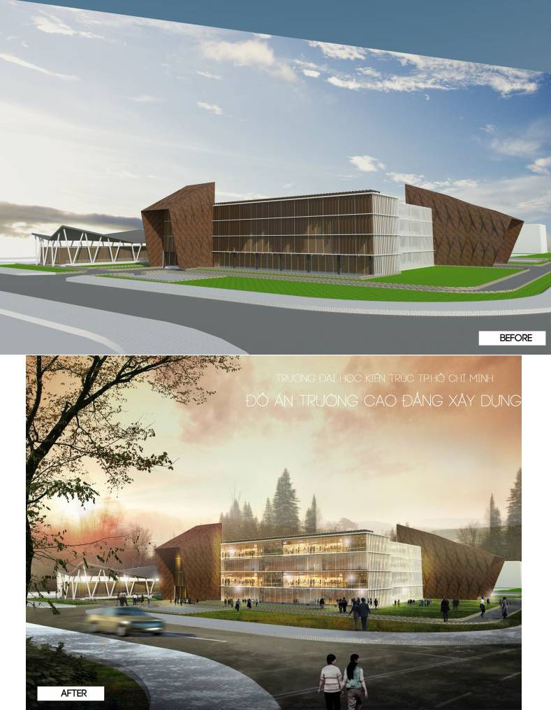 Architektur Rendering Photoshop 3rd Year Project College Building Photoshop Architectural