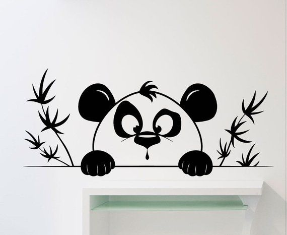 Cute Funny Little Panda Head Pattern Wall Decals With Bamboo