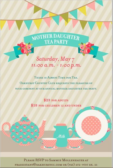 tea party event flyer poster template