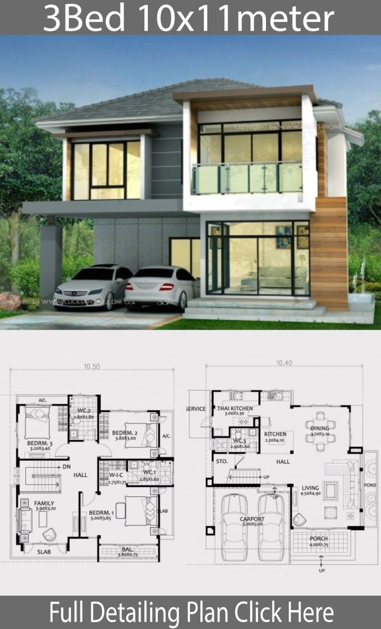 Home Design Plan 10x11m With 3 Bedrooms Home Ideas Architecture Model House Bungalow House Design Sims House Design