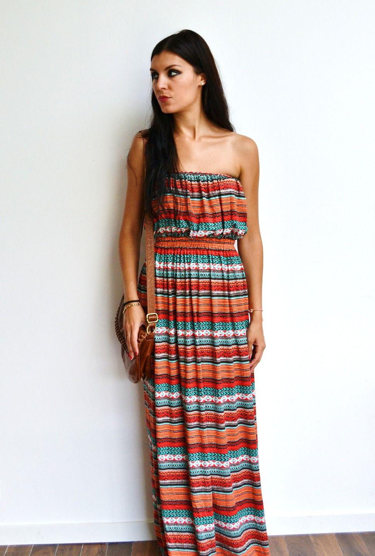 style à la mode couleurs harmonieuses grossiste Maxi robe longue bustier aztèque jersey fluide et maxi dress ...