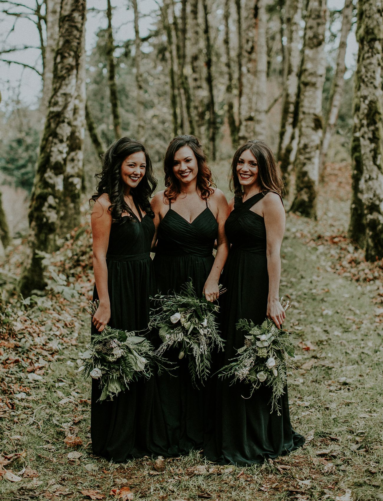 Winter Is Coming Woodsy Wedding Inspiration Green Wedding Shoes Black Bridesmaid Dresses Winter Bridesmaid Dresses Black Wedding Dresses