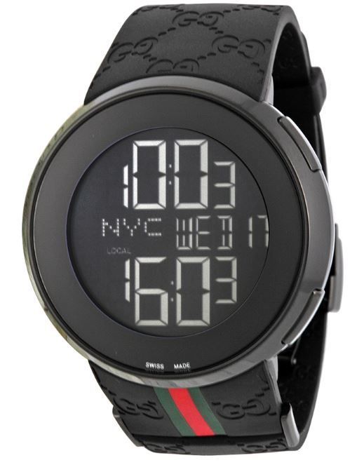16faa407fcc Gucci Men s YA114207 I-Gucci Digital Black Green Red Strap Watch ...