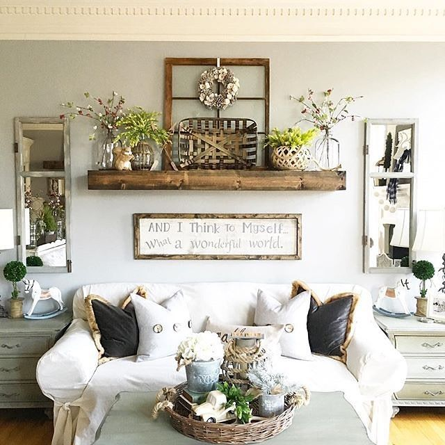 Comfy farmhouse living room designs to steal shelf over Over the sofa wall decor ideas