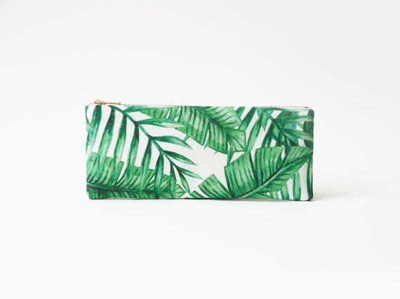 Palm Leaves Organic Cotton Pencil Case Zipper Pouch