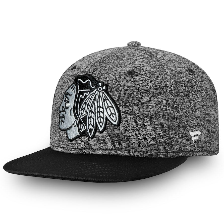 0b69bb4a56a Men s Chicago Blackhawks Fanatics Branded Heathered Black Black Hockey  Fights Cancer Speed Flex Hat in 2019