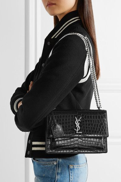 Saint Laurent - Sunset Medium Croc-effect Leather Shoulder Bag - Black ec24dd758ca14