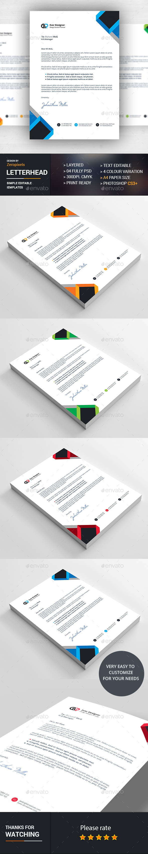 Corporate Business Letterhead Design Template  Stationery Print