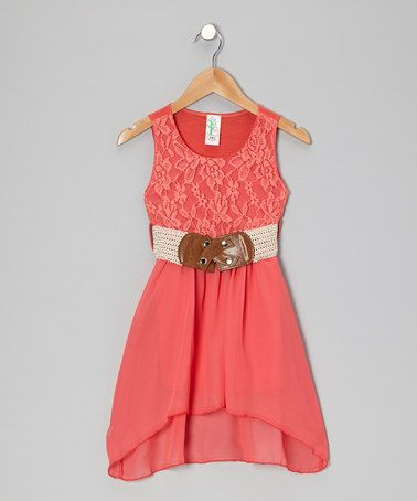 Just Kids Coral Lace Hi-Low Dress - Girls | Summer wedding dresses ...