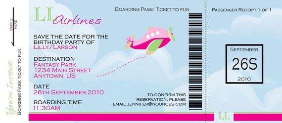 Boarding Pass Invite For Girl Birthday By Nounces On Etsy Birthday Invitations Free Birthday Invitation Templates Free Birthday Invitations