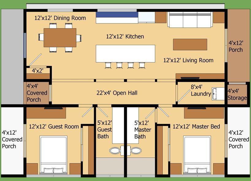 Plano de casa moderna de 90 m2 con 2 dormitorios casa for Planos de oficinas pequenas