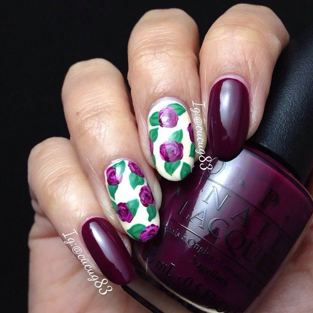 Instagram media by cucug83 - Here is my first mani of 2015. I decided to go with Pantone's color of the year which is #marsala and I used in the cable car pool lane by @opi_products. On the design I used @limecrimemakeup Milky Ways under the roses. #notd #firstmani2015  Aquí esta mis primeras uñas del año. Decidí ir con el color que Pantone eligió como el color del año que es #marsala y escogí In The Cable Car Pool Lañe de @opi_products para el diseño use Milky Ways de @limecrimemakeup…