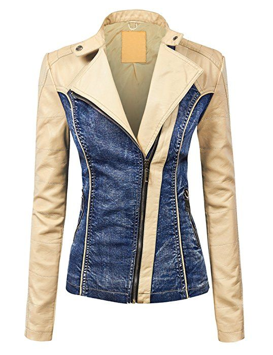 Womens Faux Leather Quilted Motorcycle Jacket with Hoodie XS CAMEL
