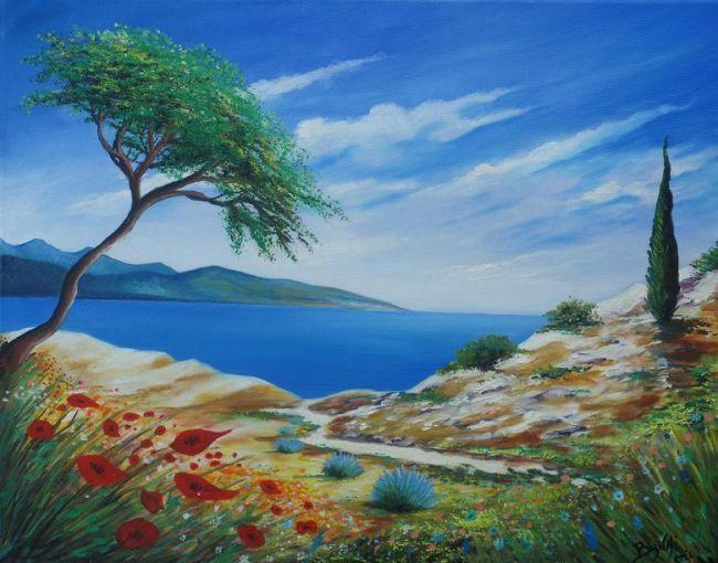 peinture paysage bord de mer bruni eric beaux paysages belles