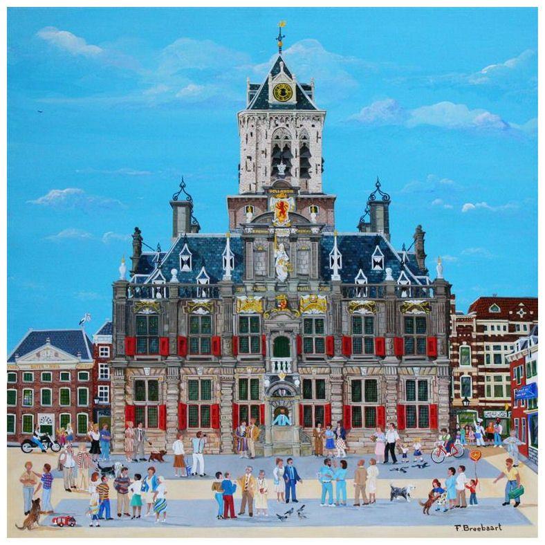 Giclée van het stadhuis van Delft, Fred Breebaart