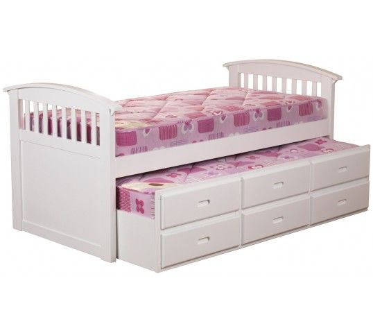 Ruby Captains Bed (White)The Ruby Captains Bed in white has been cleverly designed to help optimise your children's living space. Expertly crafted using specially sourced durable rubber wood ad finished with a white protective lacquer. This attractive yet practical bed includes 3 underbed drawers for storage space and a secret pull-out bed for when friends come to stay!