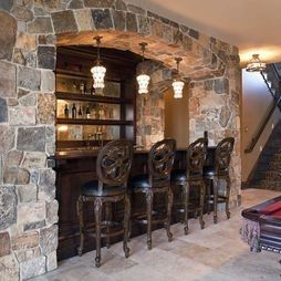Great Interior : Awesome Classic Creation Encased In Stone Wall Small Basement  Bars Design Ideas With Perfect Bar Lighting Picture   A Part Of Excellent  Mini Bar ...